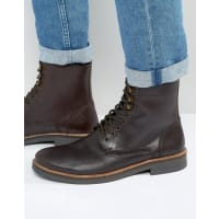 Frank WrightLace Up Boot In Brown Leather - Brown
