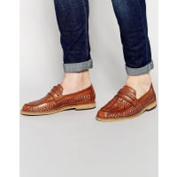 Frank WrightWoven Loafers In Tan - Tan