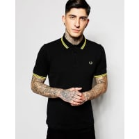 Fred PerrySlim Fit Polo with Twin Tipped in Black - Black