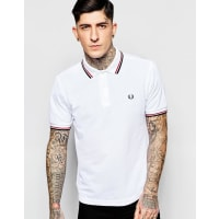 Fred PerrySlim Fit Polo With Twin Tipped In White - White