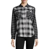 French ConnectionCheck-Print Button-Up Blouse, Black/White