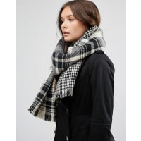 French ConnectionTartan Oversized Scarf - Black / white