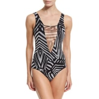 FuzziAbstract-Print One-Piece W/Mesh Insets