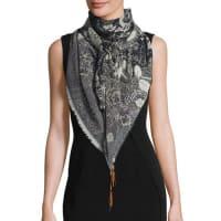 FuzziBead-Trim Batik Tulle Scarf, Black/White