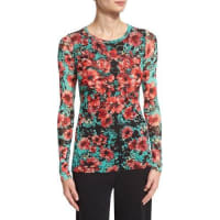 FuzziLong-Sleeve Floral-Print Stretch-Tulle Top, Multi