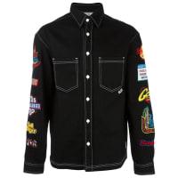 GCDSpatched button down shirt, Mens, Size: Large, Black, Cotton