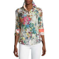 Georg Roth Los AngelesFloral-Print Long-Sleeve Blouse, Multi Colors