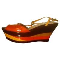 Giorgio ArmaniPre-Owned - Orange Leather Mules & Clogs