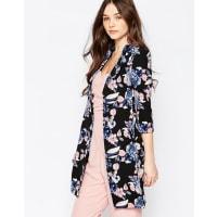 Girls On FilmGirls On Film Floral 3/4 Sleeve Kimono - Black
