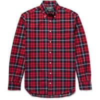 Gitman VintageButton-down Collar Checked Cotton Oxford Shirt - red