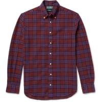 Gitman VintageButton-down Collar Checked Cotton-flannel Shirt - Claret