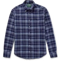 Gitman VintageChecked Cotton-flannel Shirt - navy