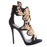 Giuseppe ZanottiNew Sold Out Black Suede Gold Leaf Rhinestone Heels In Box