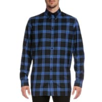 GivenchyColumbian-Fit Plaid Long-Sleeve Shirt, Blue