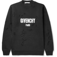 GivenchyCuban-fit Distressed Cotton-jersey Sweatshirt - Black