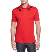GivenchyStar-Print Knit Polo Shirt, Red