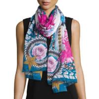 GivenchyParadise Flower Silk Chiffon Scarf, Blue