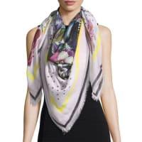 GivenchySquare Floral Bouquet Star-Print Cashmere Scarf, Cream