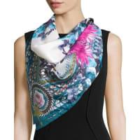 GivenchySquare Paradise Flower Silk Chiffon Scarf, Blue/Pink