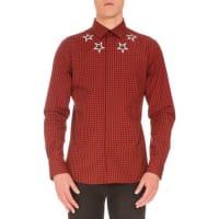 GivenchyStar-Print Buffalo-Check Shirt, Red