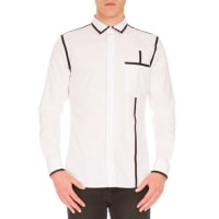 GivenchyWoven Shirt w/Contrast Piping, White/Black