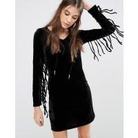 GlamorousDress With Fringed Sleeves - Black