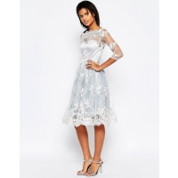 GlamorousMidi Dress With Lace Overlay - Lt blue/cream lace