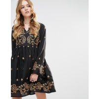 GlamorousLong Sleeved Skater Dress With Baroque Embroidery - Black