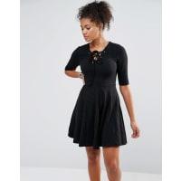 GlamorousTie Front Skater Dress - Black