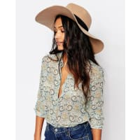 GlamorousWide Brim Fedora Hat with Contrast Black Grossgrain Band - Camel