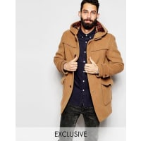 GloverallDuffle Coat with Contrast Buttons EXCLUSIVE - Tan