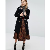 GloverallSlim Fit Duffle Coat in Long Line with Tartan Lining