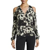 Go SilkPainterly-Print Cold-Shoulder Blouse, Plus Size