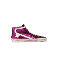 Golden Goosefuchsia laminated slide sneakers
