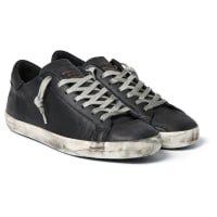 Golden GooseSuperstar Distressed Leather Sneakers - Black