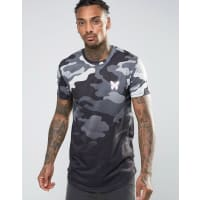 Good For NothingT-Shirt In Camo With Dip Dye - Grey