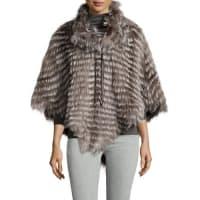 GorskiCowl-Neck Layered Silver Fox-Fur Poncho, Silver