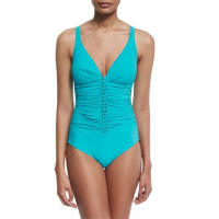 GottexWaterfall Ruched One-Piece Swimsuit, Jade