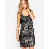 GreylinLace Overlay Sleeveless Shift Dress - Black