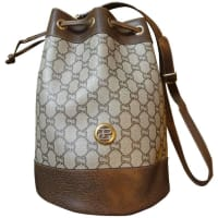Gucci1980s Vintage Gucci Plus Monogram And Leather Hobo Bucket Purse With Drawstrings