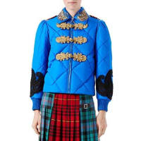 GucciCaspian Nylon Quilted Bomber Jacket, Bright Blue
