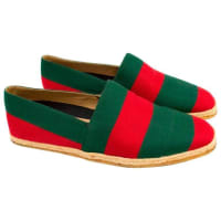 GucciGreen And Red Mens Striped Espadrilles