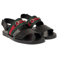 GucciHorsebit Webbing-trimmed Leather Sandals - Black