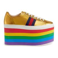 GucciLow-Top-Sneaker aus Leder mit Plateau