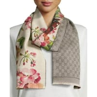 GucciMiniorophin Floral & Logo Wool Scarf, White/Pink