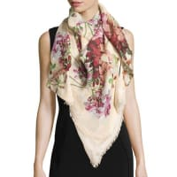 GucciNew Blooms Square Shawl, White/Pink