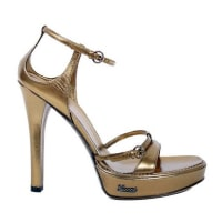 GucciNew Gucci Metallic Bronze Leather Platform Sandals