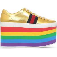 SelfridgesGUCCI Peggy rainbow leather platform trainers, Womens, Size: EUR 35 / 2 UK Women, Gold Comb