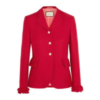 GucciRuffled Wool And Silk-blend Jacket - Red
