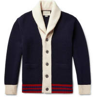 GucciShawl-collar Colour-block Wool Cardigan - Navy